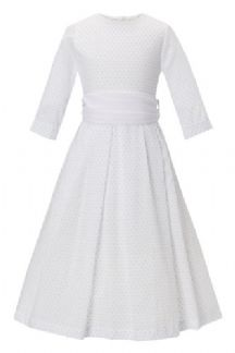 Cotton voile pleated flower girl dress